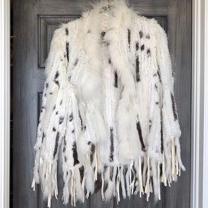 White & Gray Rex Rabbit Fox Fringe Fur Jacket Coat